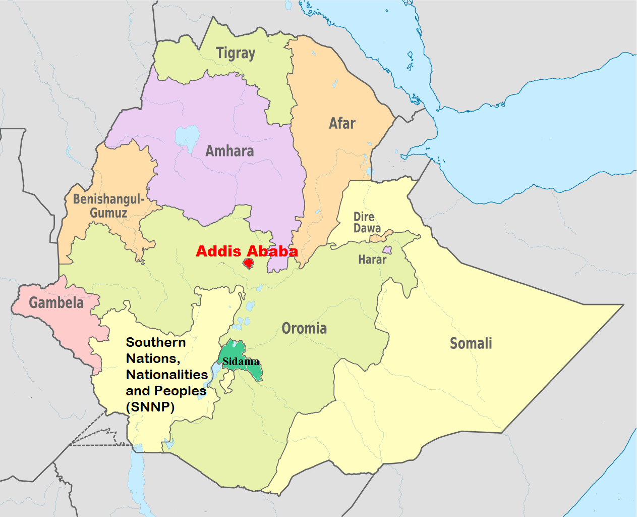 Addis Ababa Region Map