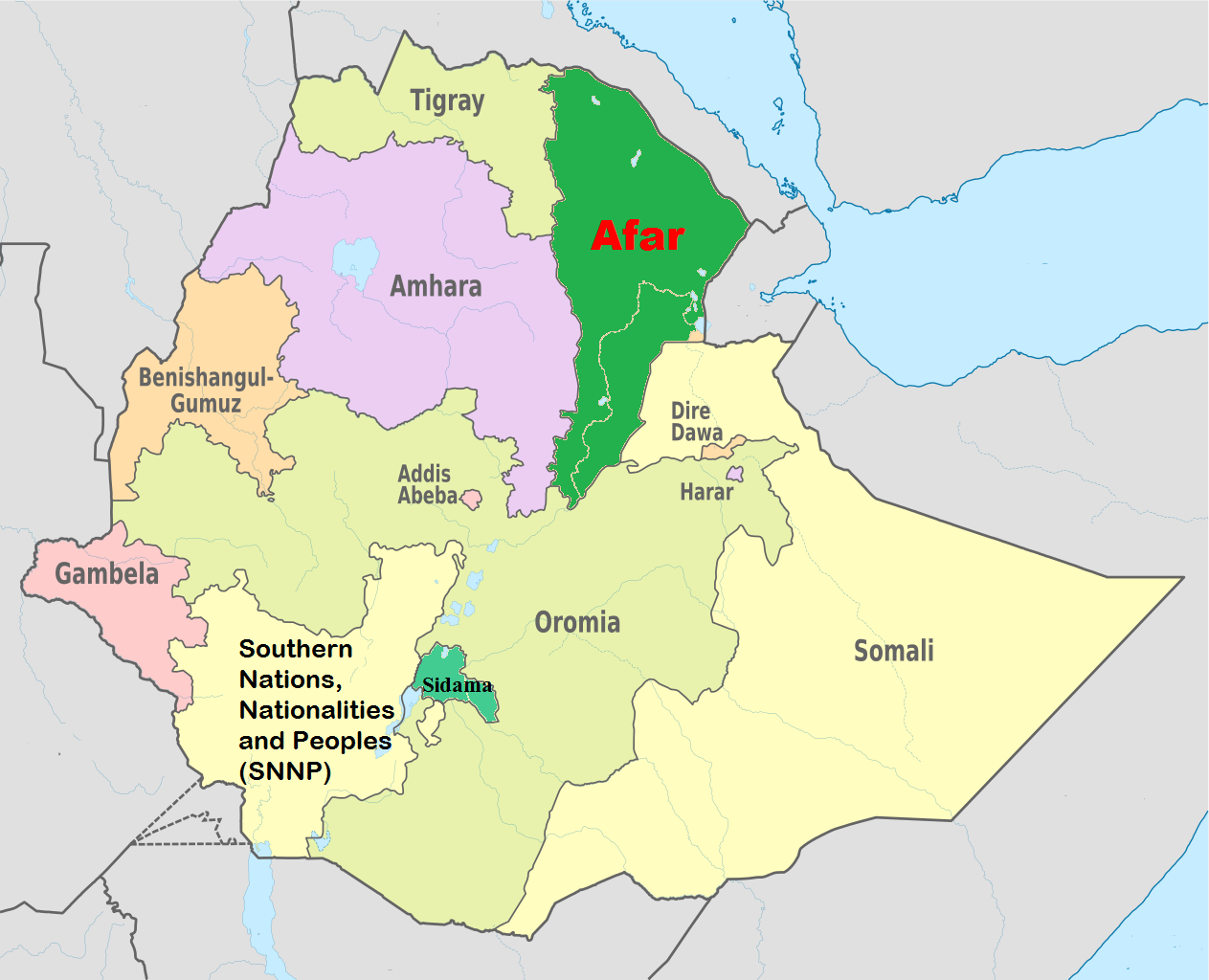 Afar Region Map