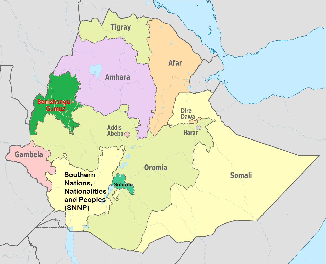 Benishangul gumuz ethiopia about ethiopia benishangul gumuz region map sciox Gallery