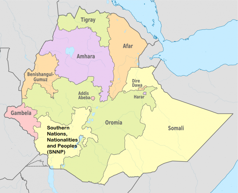 Ethiopia Regions Map